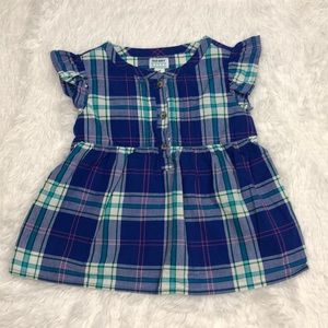 EUC Old Navy Flutter Sleeve Plaid Top 5T